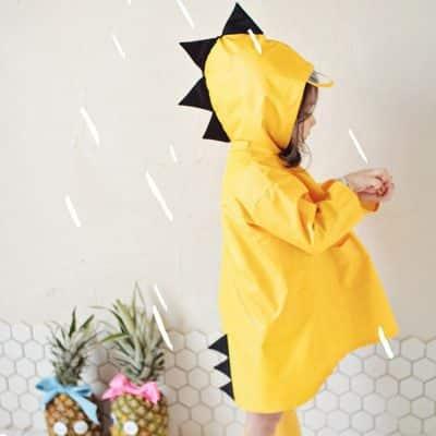 מעיל גשם לילדים דגם דינוזאור